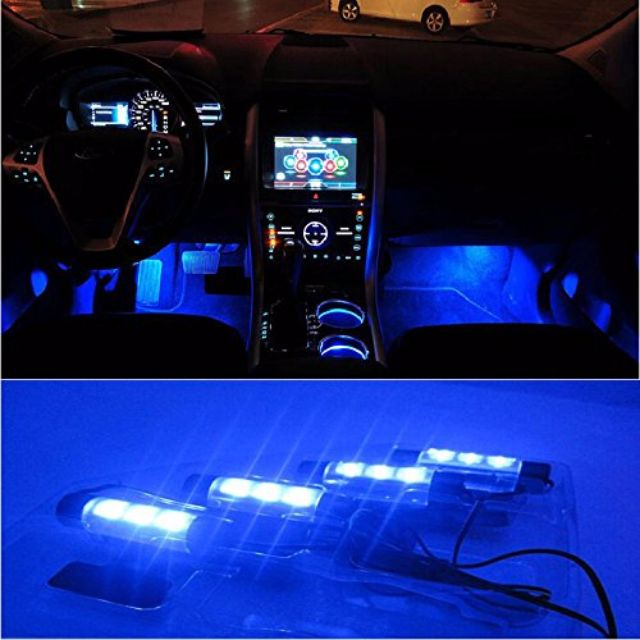 led car interior floor lights decoration lamp blue or white car accessories on carousell. Black Bedroom Furniture Sets. Home Design Ideas