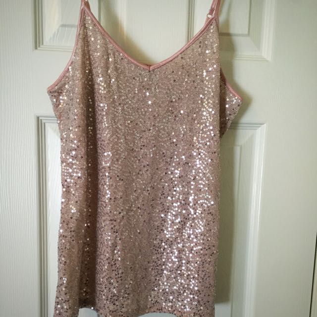 Pink Sequin Tank With Adjustable Straps