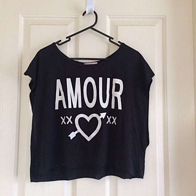 "Supre Black ""Amour"" Crop Top"