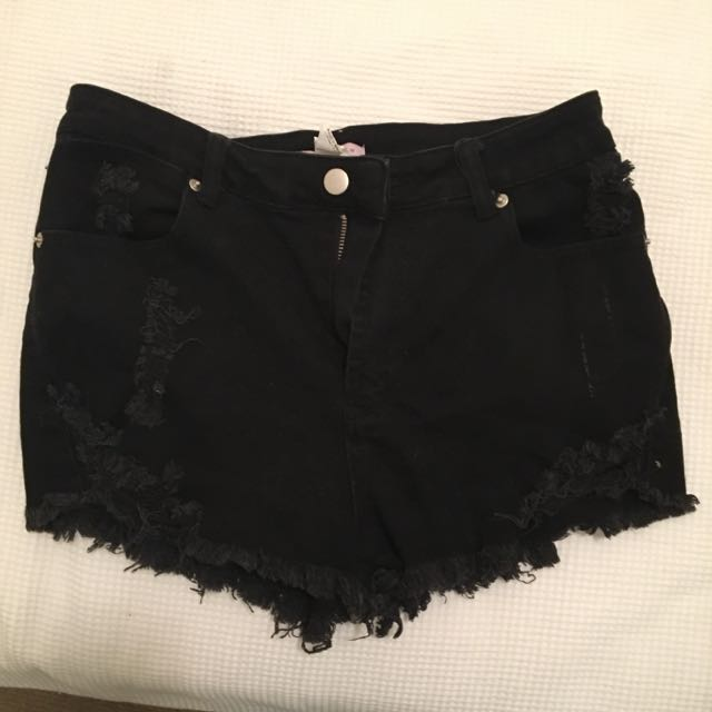 SUPRE Mid-high Waisted Ripped Shorts