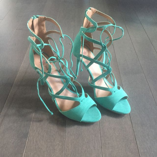 Turquoise Lace Up Heels