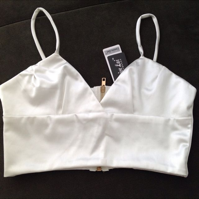 White Satin Crop Top