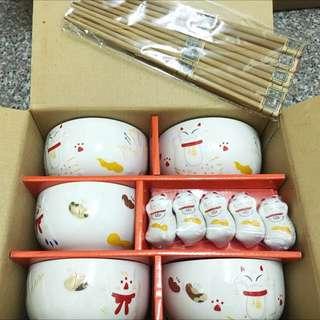 日本進口招財貓碗組