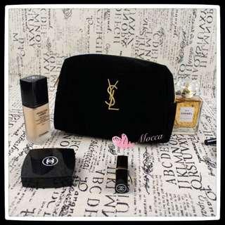 現貨💋 YSL黑色絲絨金色刺繍化妝包/專櫃贈品化妝包💋隨身旅行包,包中包 【YL0️⃣0️⃣1️⃣】