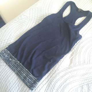 Navy Blue Racer Back Tank With Sequinned Band