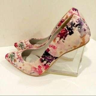 全新》韓國帶回 碎花名媛玻璃跟鞋 35號