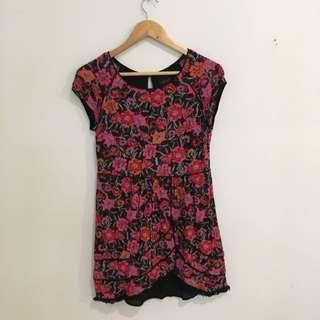 Pink Floral Print T-shirt Dress