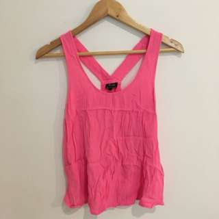 Bardot Neon Pink Crop Singlet With Criss-cross Back