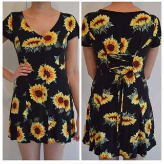 Noughts And Crosses Sunflower Print Dress