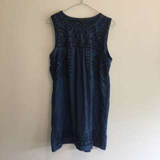 Blue Embroided Dress