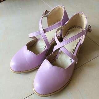 薰衣草紫交叉繞踝跟鞋 35