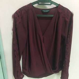 V-neck Blouse With Lace Detail Sleeve (Dorothy Perkins)