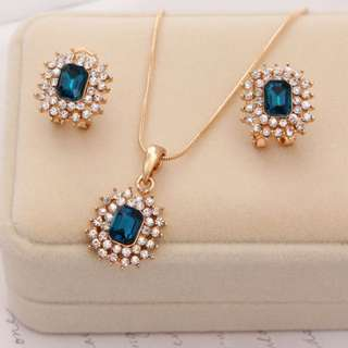 18K Gold Plated Diamond Jewelery Set