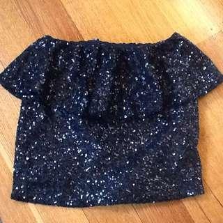 ASOS Ladies Black Sequinned Skirt, Peplum Look. Size 8