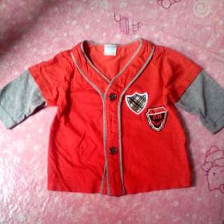 Crib Couture Red and Gray 3/4 sleeved shirt