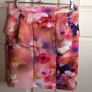TEMT Peplum Scuba Fabric Stretch Skirt. Size S