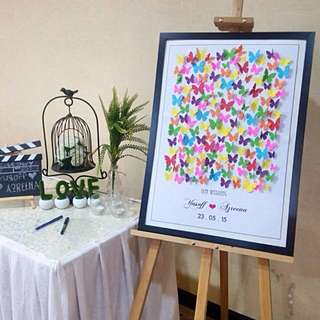 3D Butterflies Wedding Guest Book