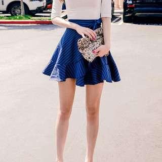 CHUU Pinstripe Wrap Skirt (Popular Korean Brand- Kpop Idol Style!)