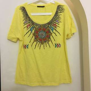 Tribal Print and Beaded T shirt