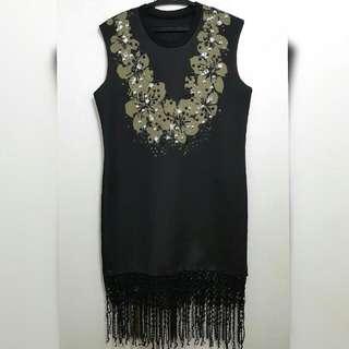 Black Neoprene Dress With Fringe