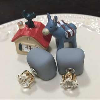 ✨全新✨簡約灰色白鑽耳環
