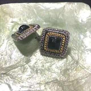 ✨全新✨金銀仿古方型耳環