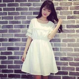 含運!!!【氣質過人】秋冬,流蘇收腰連身裙(白、黑2色)