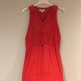 ⭐️⭐️⭐️COUNTRY ROAD ~ Orange Red Sleeveless Gathered Elastic Tie Waist Dress ~ size 12