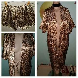 Leopard Silk Kimono Short