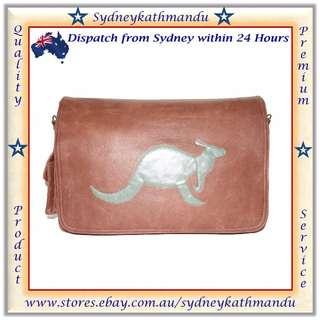 Mens Handmade Genuine Leather Messenger Laptop Bag Satchel Kangaroo Design Craft