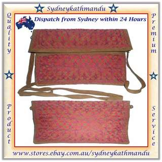 New Embroidered Genuine Suede Fashion Women Handbag Shoulder Bags Purse Messenger