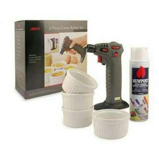 Avante 6 Piece Creme Brulee Set With Blow Torch, Refill Gas And 4 Ramekins