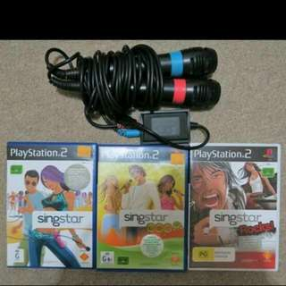 Singstar Set For PS2 With 3 Singstar Games