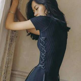 ALICE SELECT 氣質側身Lace- Up 優雅彈力螺紋圓領顯瘦傘狀洋裝