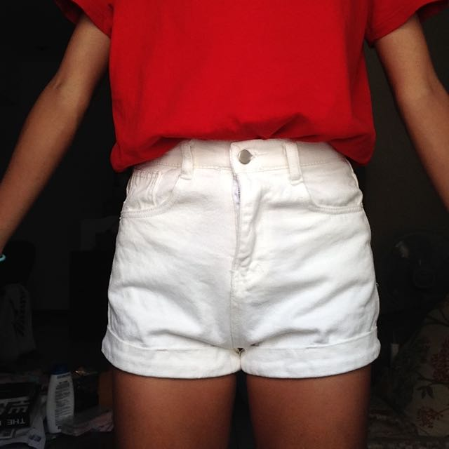 (含運)白色窄版短褲👖