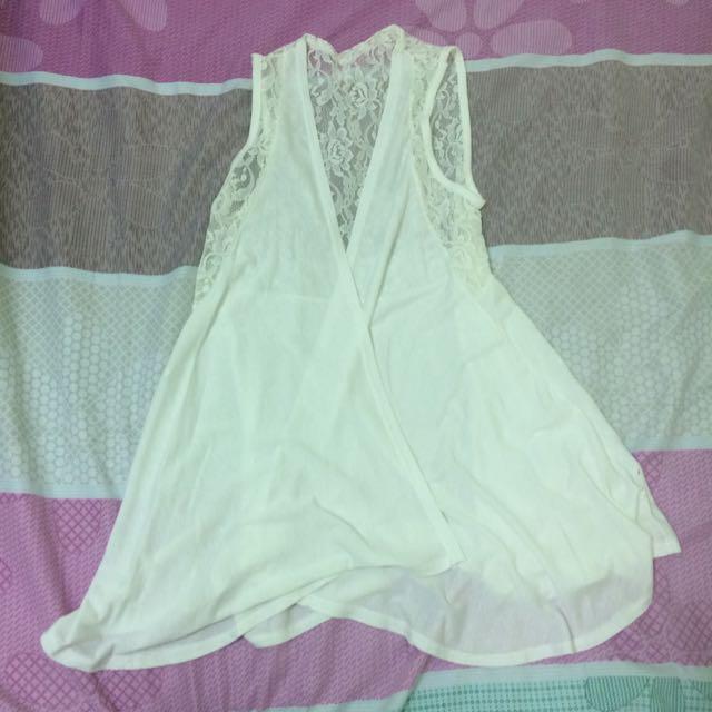 棉質拼接蕾絲長版無袖罩衫