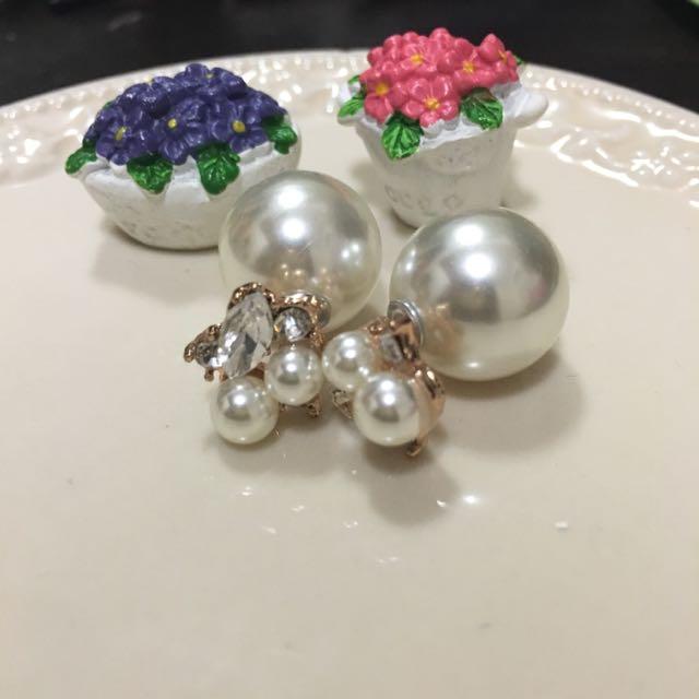 ✨全新耳環✨氣質款白色珍珠大力丸