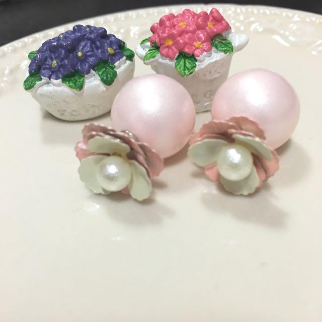 ✨全新耳環✨粉色花朵大力丸