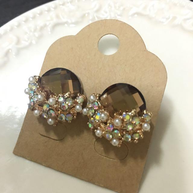 ✨全新✨黃石搭配小珍珠碎鑽耳環
