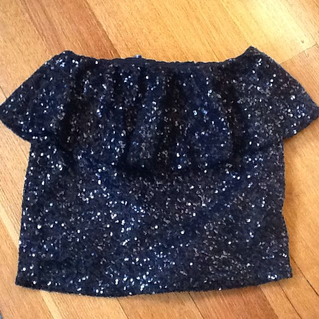 ASOS Ladies Black Sequinned Skirt, Peplum Look. Size 8