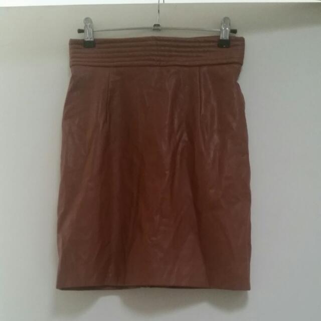 Bardot Brown Leather Skirt