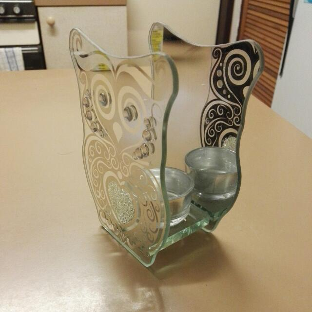 Beautiful Mirrored Owl Candle Holder