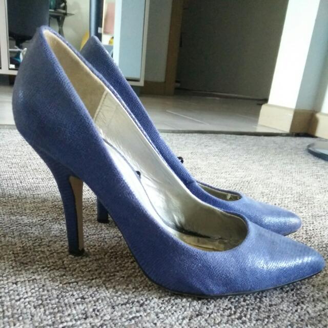 Blue Reptile Skin Heels