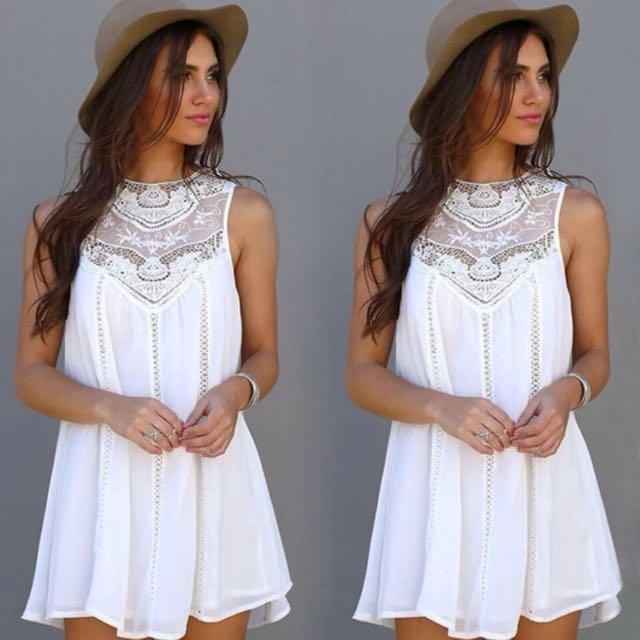 BOHO Hollow Out Chiffon Dress