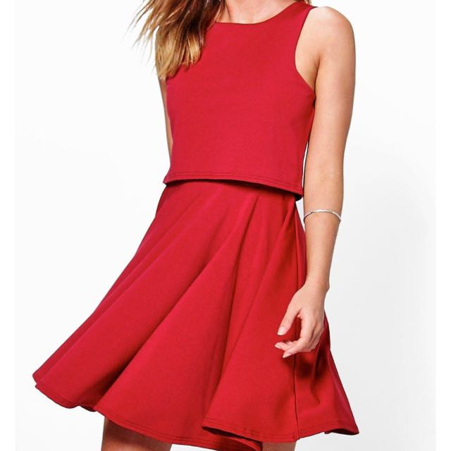 BOOHOO Double Layer Skater Dress UK8 BNWT
