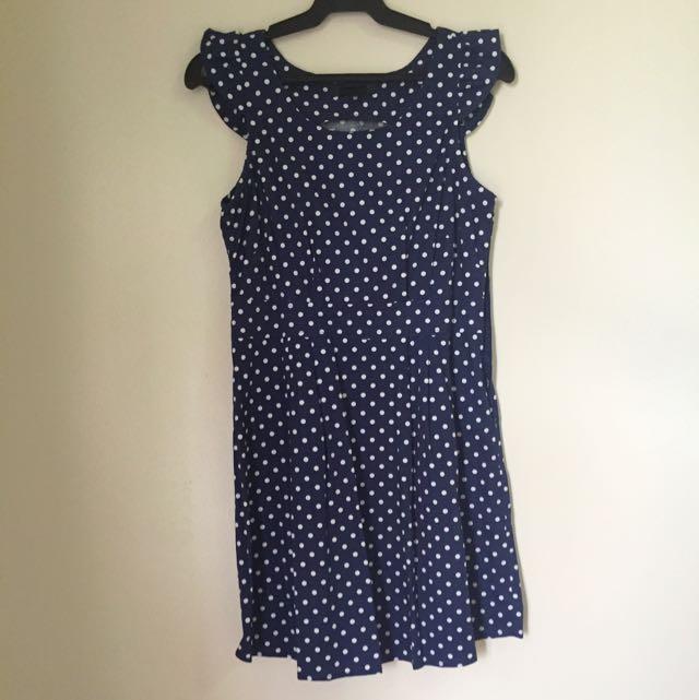 Cache Cache Dark Blue Polka Dot Dress