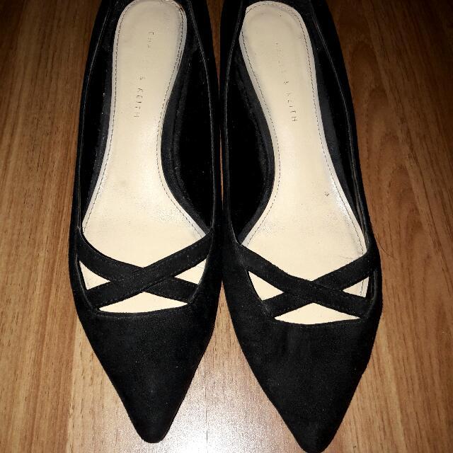 Charles & Keith Black Kitten Heels
