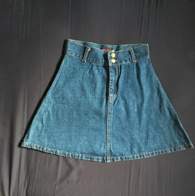 Circle Denim Skirt