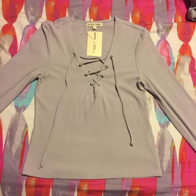 Criss Cross Grey Long Sleeve Size Large 8-10