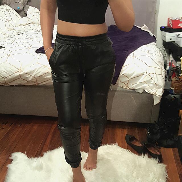 Faux Leather Bardot Cargo Pant  Size 6